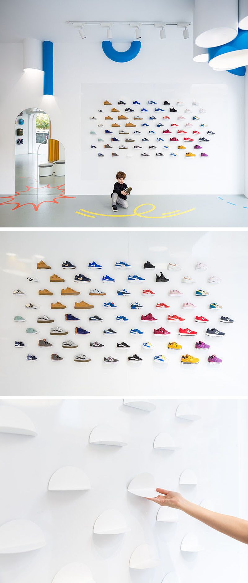 In this modern retail store, magnetic display plates on the walls and movable stands on the floor allow the design and layout to be changed when needed. #ShoeDisplay #ModernRetailStore
