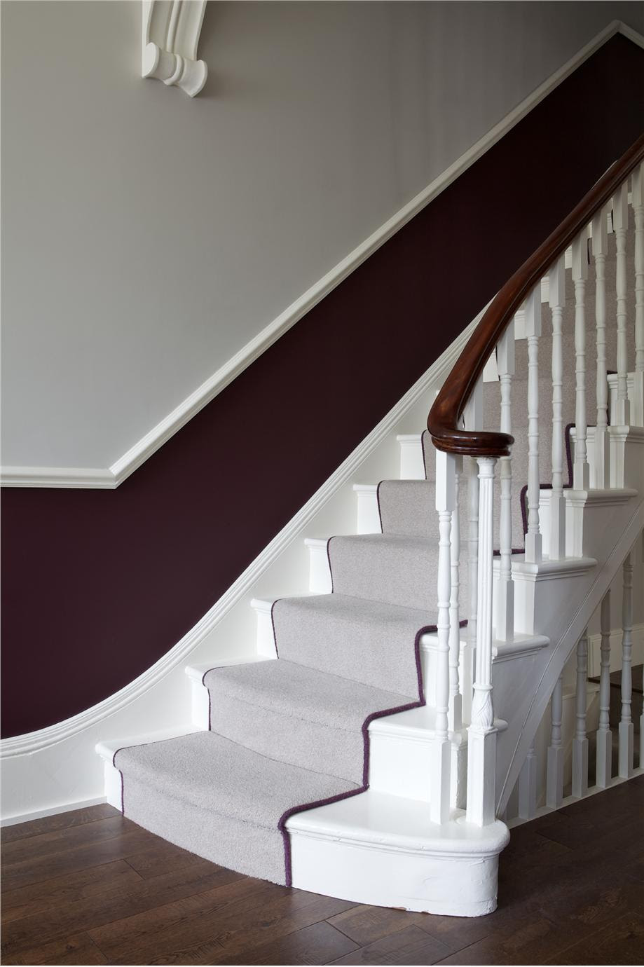 Farrow and Ball Brinjal and Farrow and Ball Cornforth White in small hallway