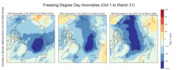 Figure 5a. These maps show the cumulative number of freezing degree day anomalies from the Climate Forecast System version 2 (CFSv2). Courtesy of A. Barrett, National Snow and Ice Data Center|