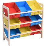 Yescom 3 Tires Kids Toys Color Organizer Wood Shelf 9-Bin Storage