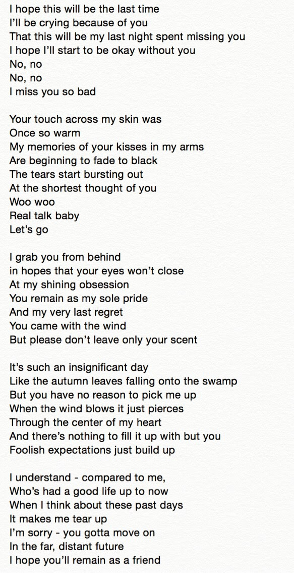 Eng Trans Lyrics Ikon I Miss You So Bad Written By G Dragon