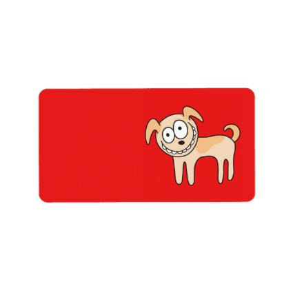 Funny puppy dog cute kids animal cartoon on red personalized address labels