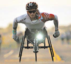Cadeirante em competição: suporte percebido comosubstitutodas pernas (HUGH GENTRY/REUTERS - 14/10/12)