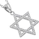 925 Sterling Silver Classic Jewish Star of David White CZ Pendant Necklace
