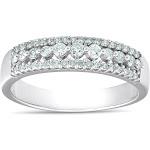 Pompeii 3 - 1/3ct Diamond Anniversary Wedding Ring 10K White Gold Womens Pave Wedding Band