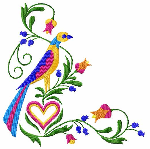 4 Hobbycom Machine Embroidery Designs Hearts Birds Hearts