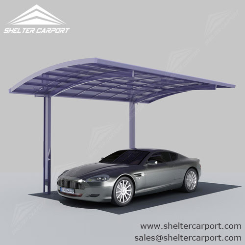 Alu Carport with Curved Polycarbonate Panel