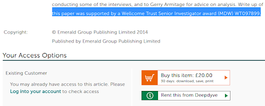 Checking Wellcome Trust funded Open Access articles