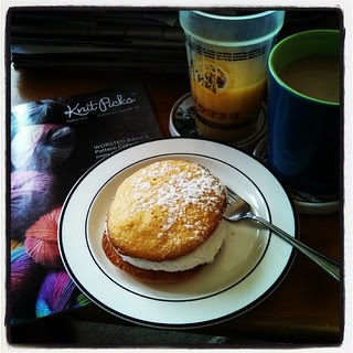 Orange #whoopiepie for #breakfast ? Yes. Don't judge...I'm sick. #oj #coffee and the new #KnitPicks catalog. #iHateBeingSick