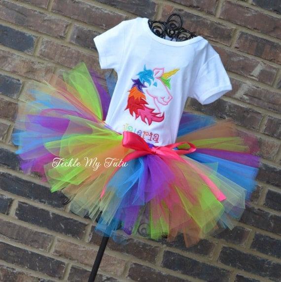 rainbow unicorn birthday tutu outfit rainbowticklemytutu