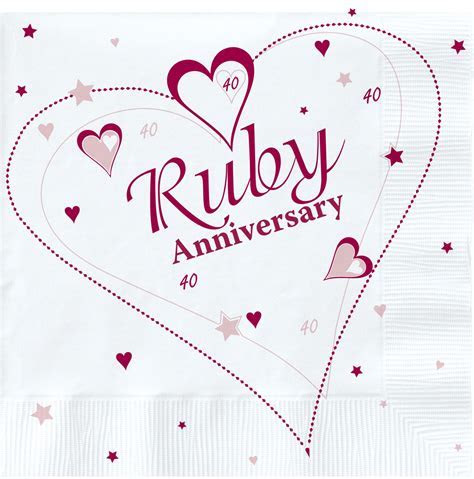 40 Year Anniversary   Ruby Wedding Napkins   Party Store Girl