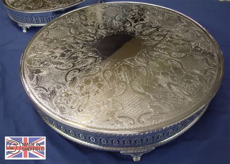 "16""ROUND WEDDING CAKE STAND SILVERPLATED SHEFFIELD MADE   eBay"