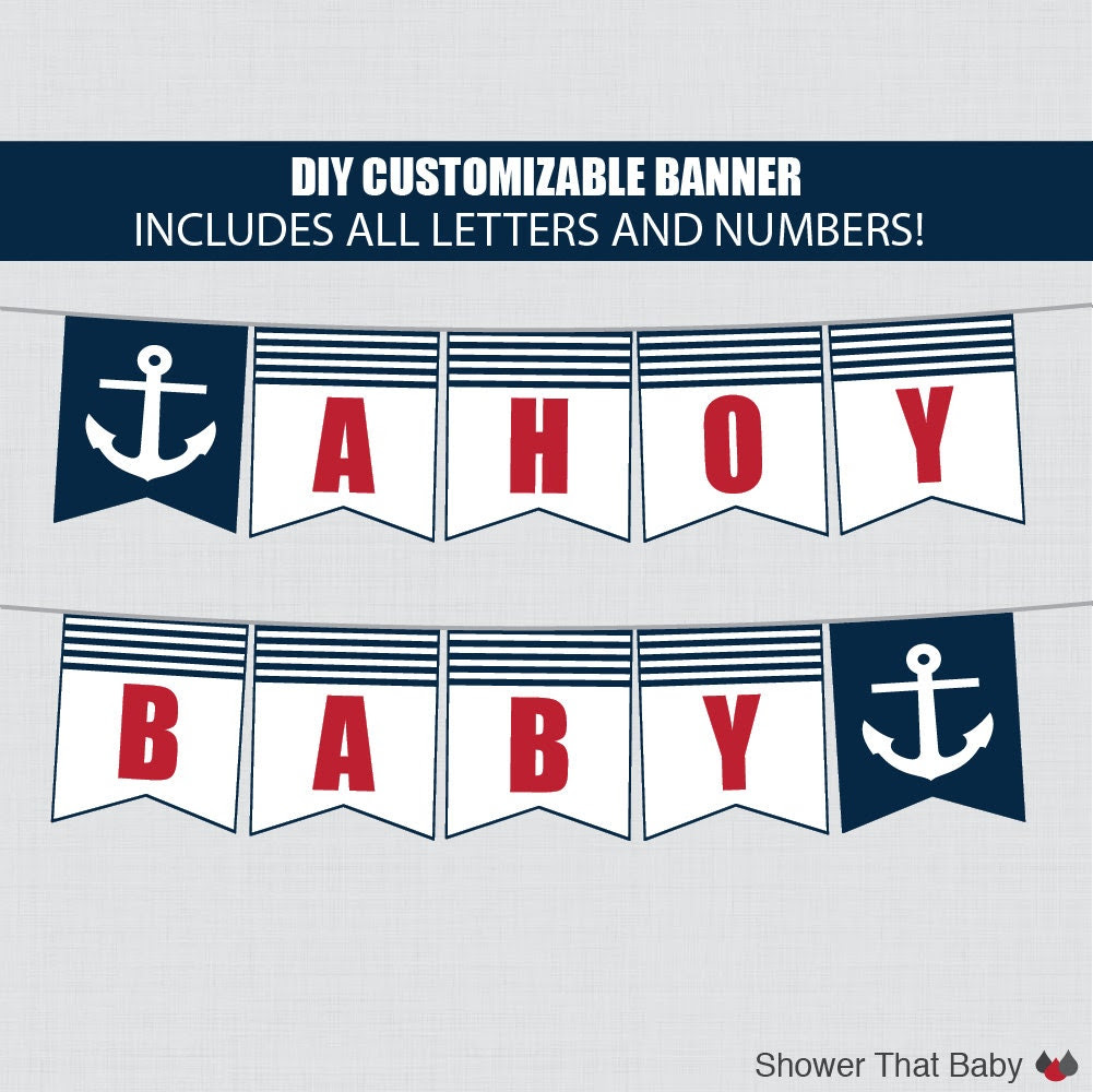Printable Nautical Baby Shower Banner Customizable DIY by ...