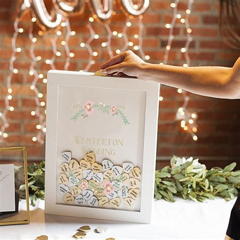 Personalized White Heart Drop Guest Signature Shadow Box