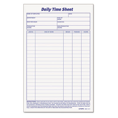 Tops Daily Time and Job Sheets, 8 1/2 x 5 1/2, 100/Pad, 2/Pack ...