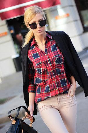 black blazer - neutral jeans - ruby red Choies shirt - black PERSUNMALL bag
