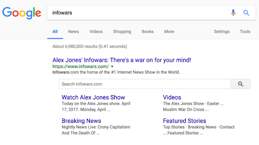 Google did not ban Infowars; did rescind quality example using an Infowars article