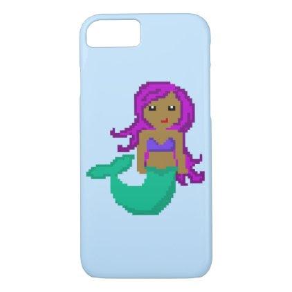 8Bit Pixel Geek Mermaid with Purple Hair iPhone 7 Case