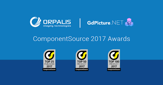 GdPicture.NET and ORPALIS win Product and Publisher ComponentSource Awards for 2017