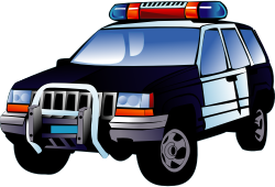 POLICE CAR by JNESS - Police car four wheel drive truck full color illustration of a black and white vehicle.
