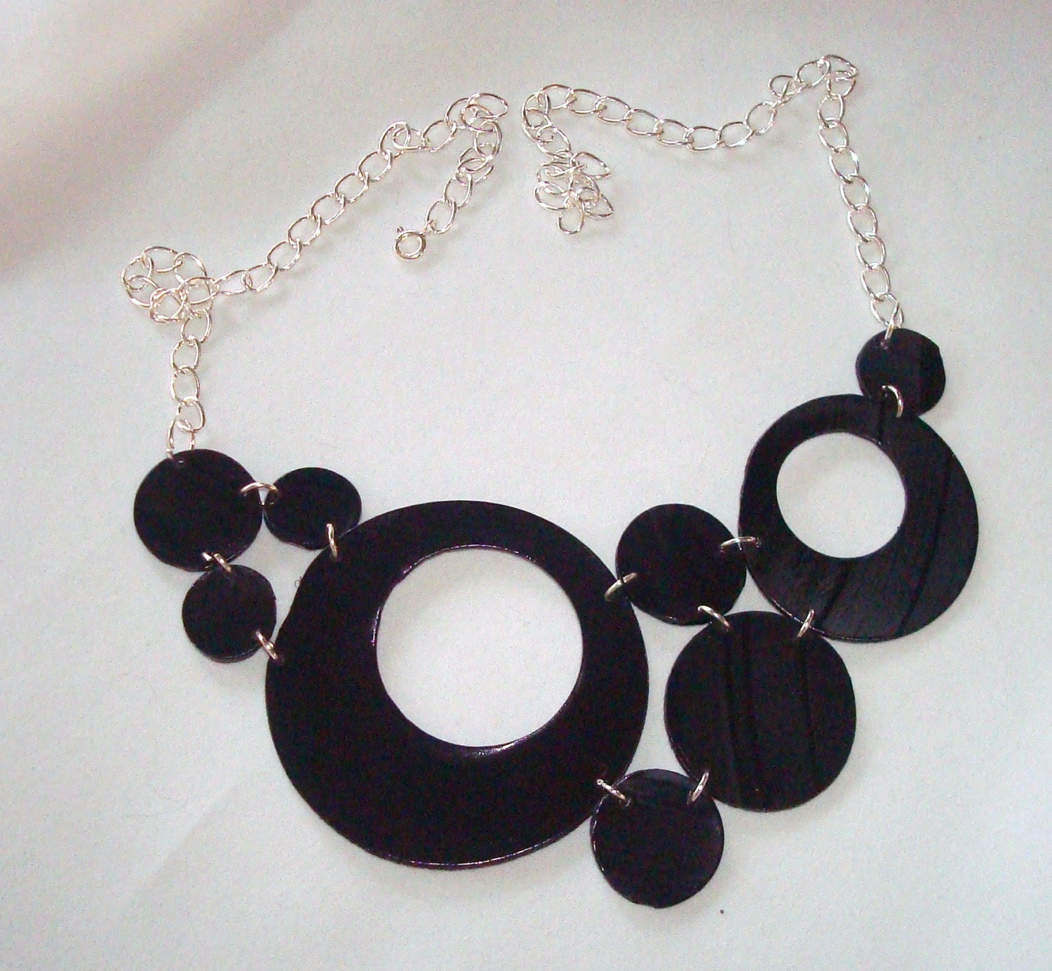 Bubbles upcycled record vinyl necklace