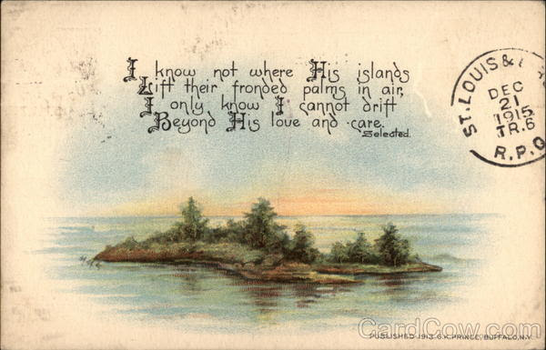 Painting of an Island in a River w/ Poem Vintage Postcard