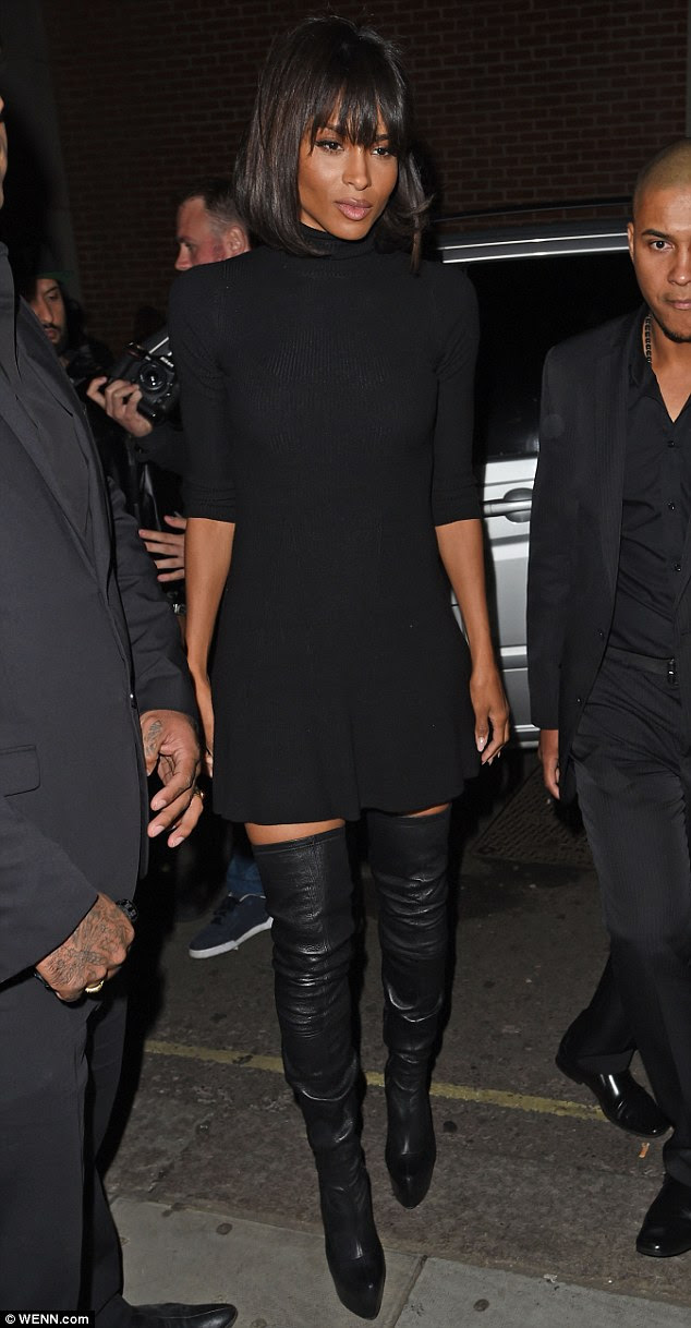 Stunning: The focal point of the US star's stunning ensemble was a pair of sexy, black leather over-the-knee Louboutin boots