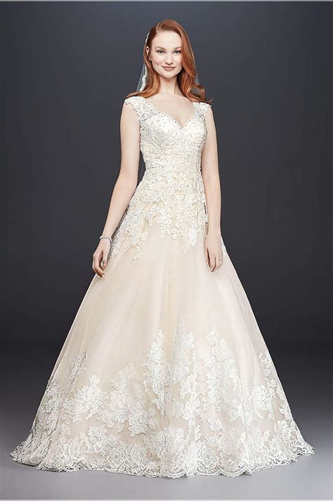 Jewel Lace and Tulle Illusion Neck Wedding Dress   David's