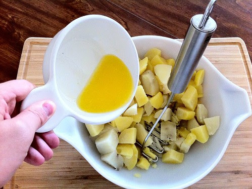 Adding Melted Butter to Cooked Potatoes