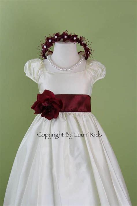Flower Girl Dress   IVORY Cap Sleeve Dress With BURGUNDY