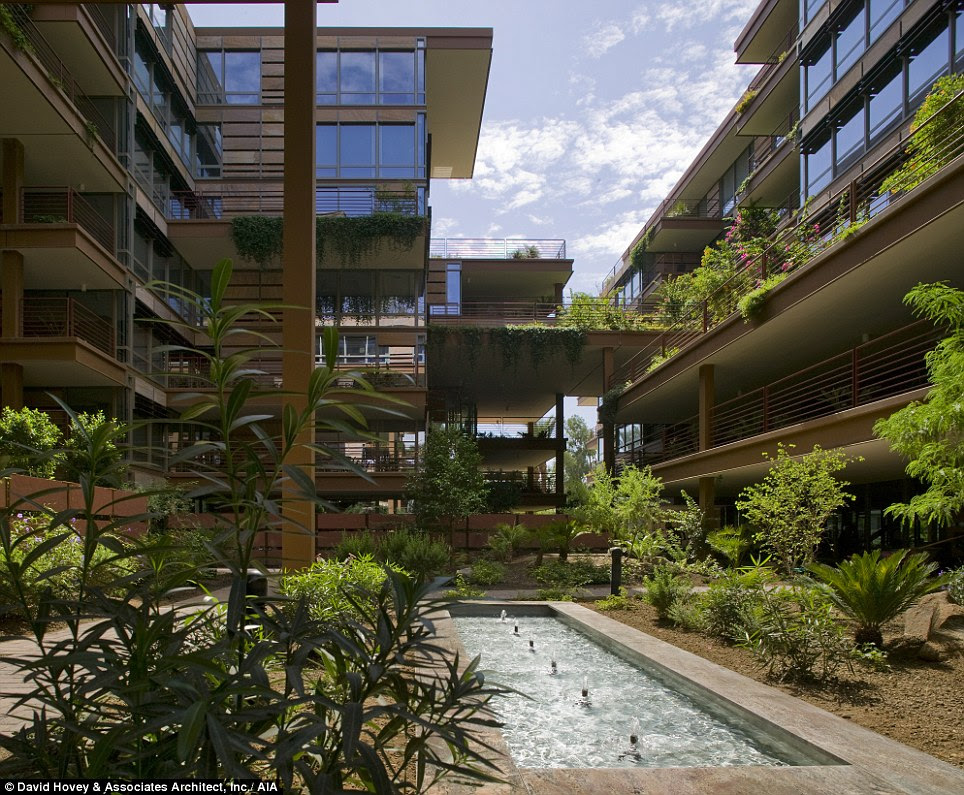 Tranquil: Optima Camelview Village in Scottdale, Arizona uses greenery and water features to combat the desert heat