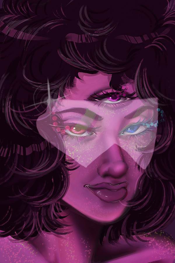 first try on photoshop :c is Garnet u v u how do she look better? with or without her glasses? o: