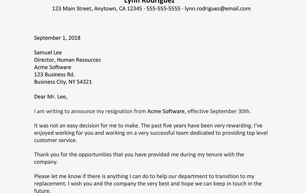 Please Find Attached My Resignation Letter - Sample Resignation Letter