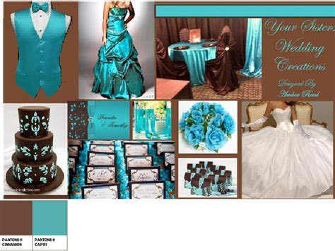 Turquoise and Chocolate Brown : PANTONE WEDDING Styleboard