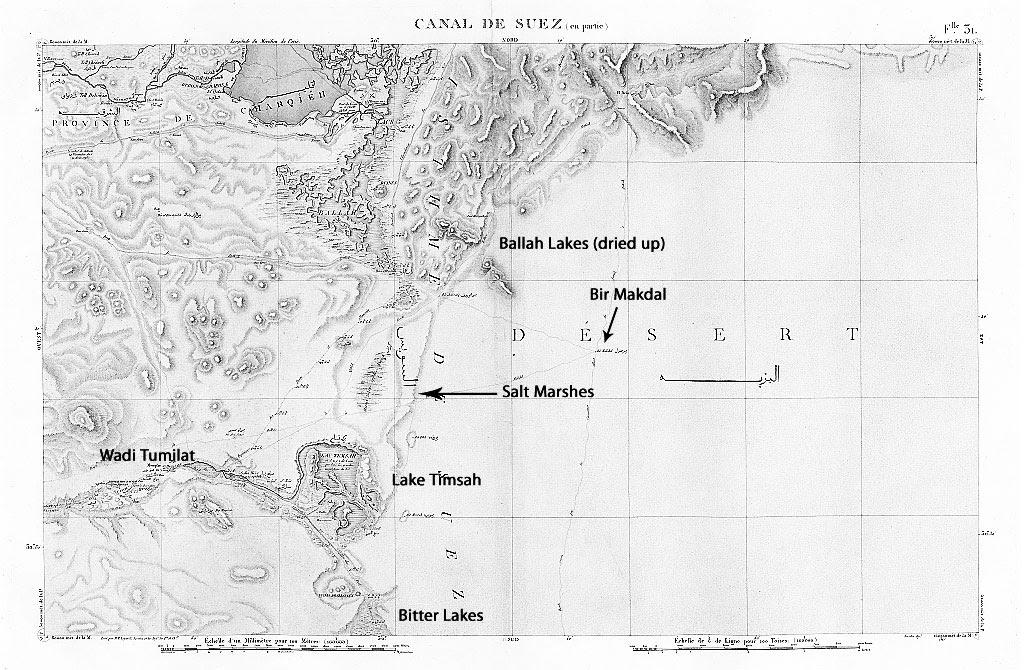 Cartes Topographique de l' Égyptemap showing marshland between Timsah and Ballah lake systems as well as Bir Makdal