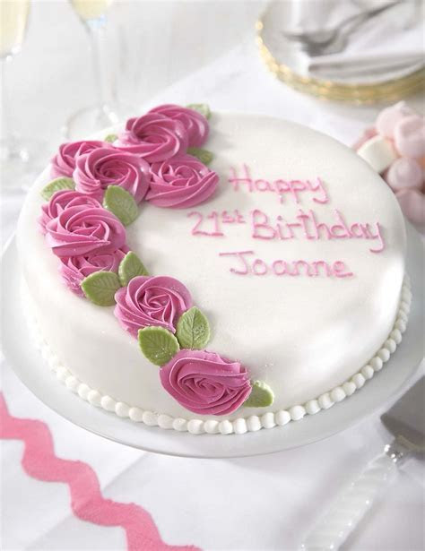 Personalised Piped Rose Pink Round Sponge Cake (Serves 32