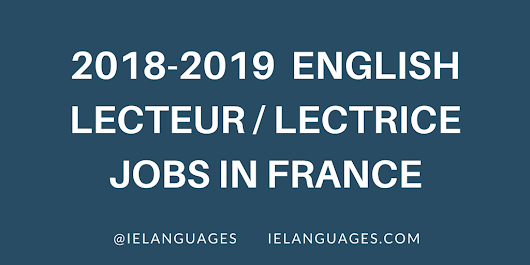 English Lecteur Positions at French Universities 2018-2019