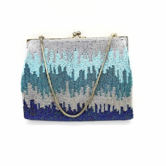 1950s Laura Peacock Colors Seed Bead Evening Bag Made in Hong
