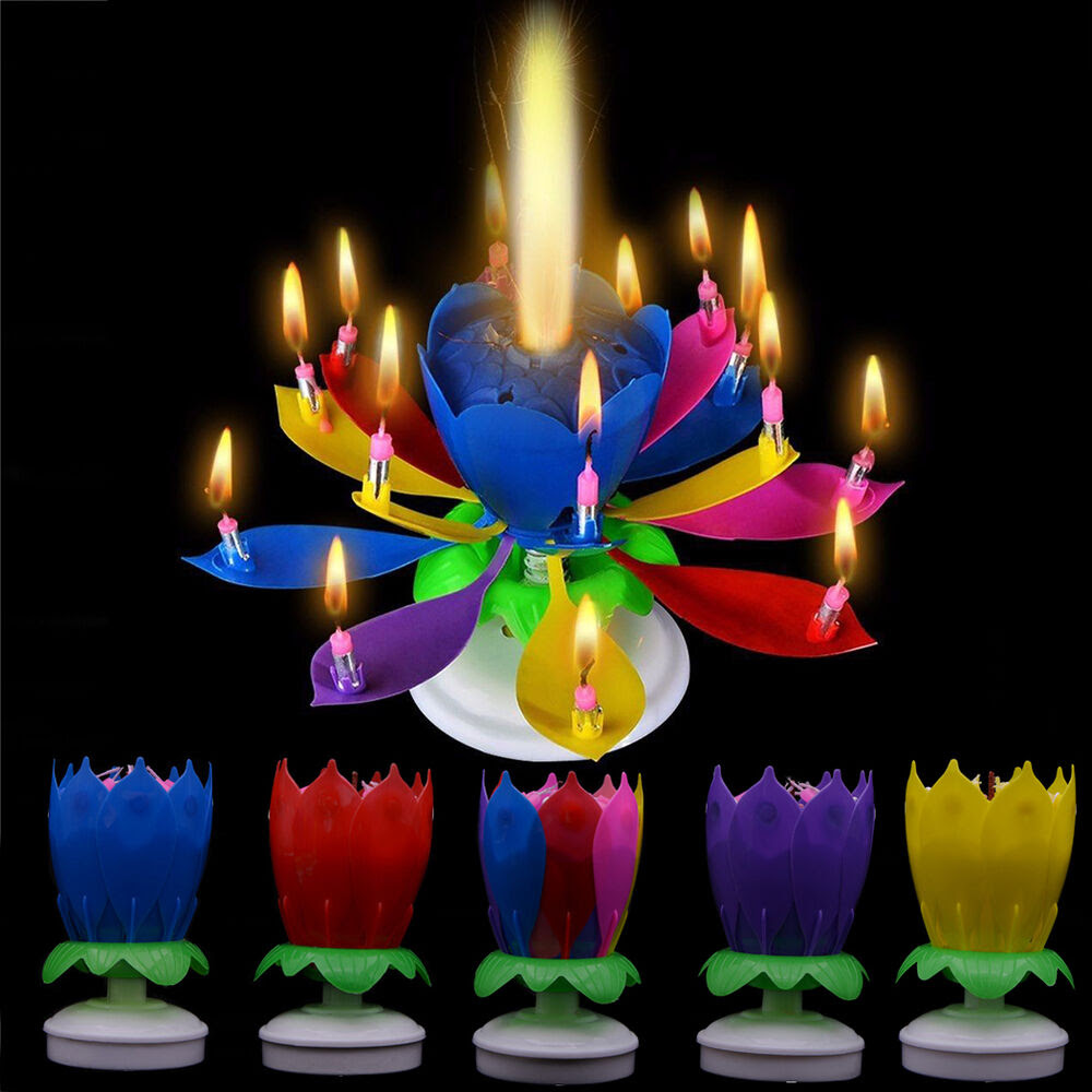 Cake Topper Birthday Lotus Flower Decoration Candle ...