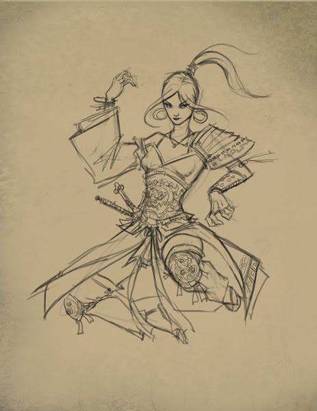 how to draw, painting, comics,anime, manga, monk, assinssin, woman, tutorial, girl.
