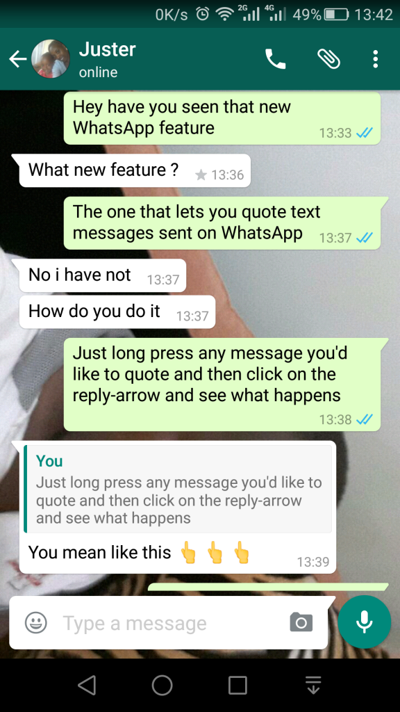 Introducing Whatsapp Quotes Now You Can Quote Messages Youre