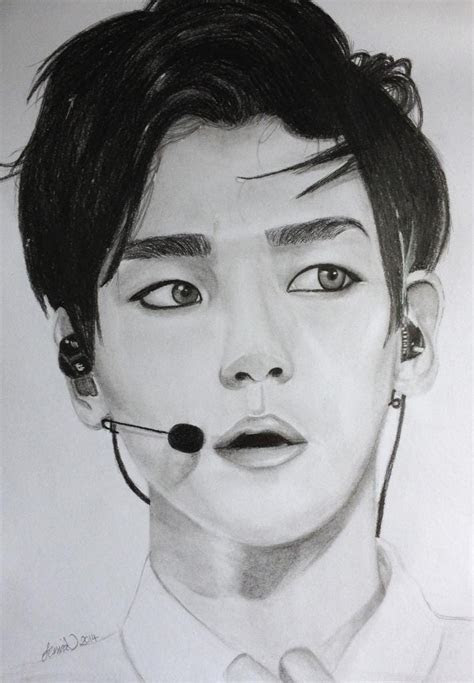 exo byun baekhyun commission graphite drawing