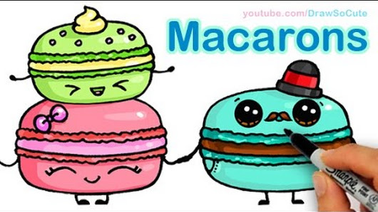 How To Draw Macarons Cute Step By Sweet Cartoon Desserts