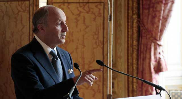 El ministro de exteriores francés, Laurent Fabius, durante la rueda de prensa. | Afp