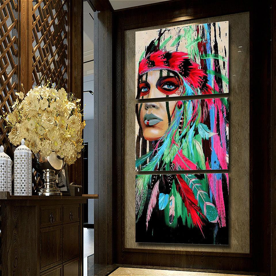 3 Piece Wall Art Beauty Native American Indian Girl Green Bvm Home