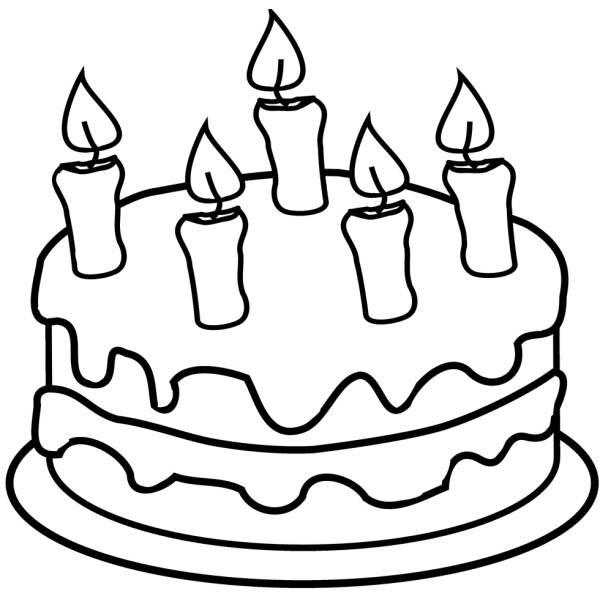 Disegno Di Torta Con Candeline Da Colorare Per Bambini