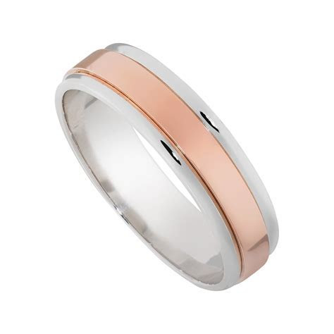 14K Rose and White Gold 6mm Mens Wedding Band   Mullen