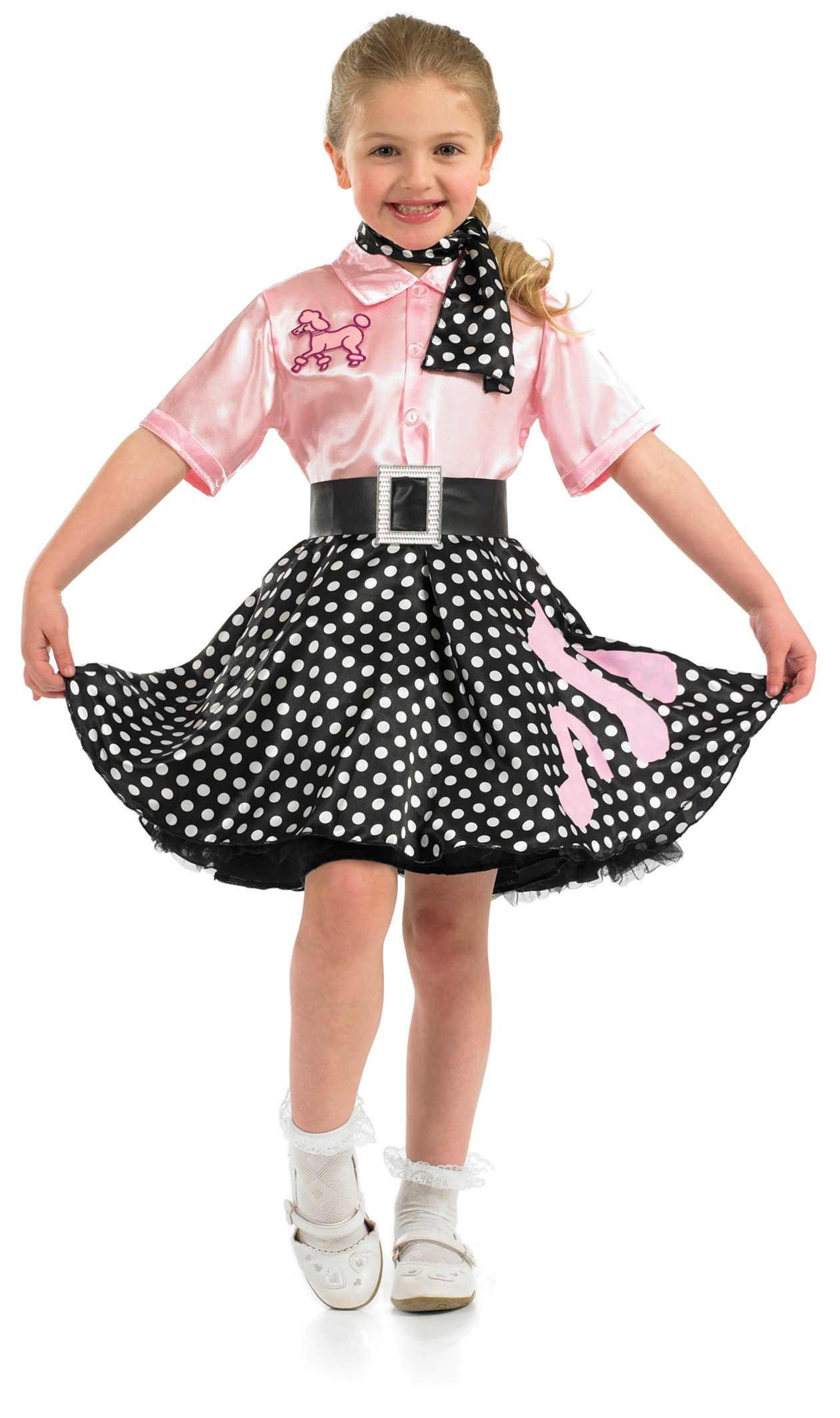 girls rock n roll girl costume for 50s fancy dress kids