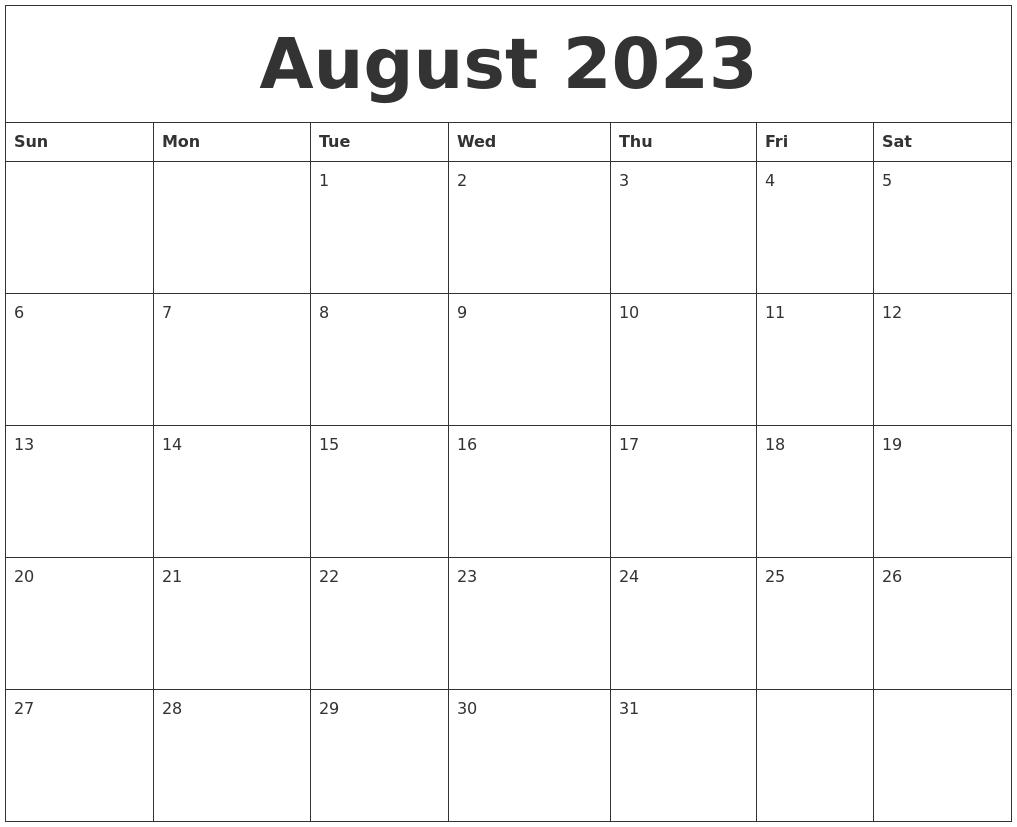 august 2023 editable calendar template