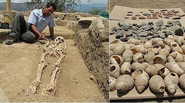 Skeleton and shells found at the Montegrande site.